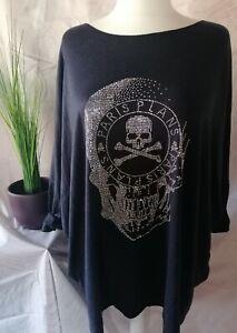 italy Totenkopf Pullover * Longshirt Oversize marine  kuschelig 44-/50/52