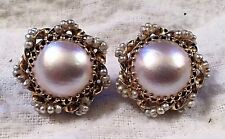 WOMEN'S 14K SOLID YELLOW GOLD & MOTHER OF PEARL CLIP-ON EARRINGS