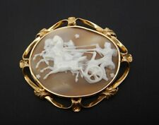VICTORIAN LARGE 15Ct GOLD SHELL CAMEO  - Phaeton driving the chariot of the sun