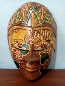 BEAUTIFUL HAND CARVED WOOD BATIK MASK JAVA ART WALL DECOR ORNAMENT BROWN MALE 03