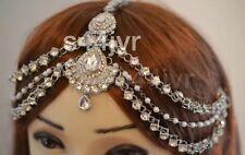 Silver Three Row Pearl Crystal Indian Matha Patti Tikka Head Jewellery Bridal