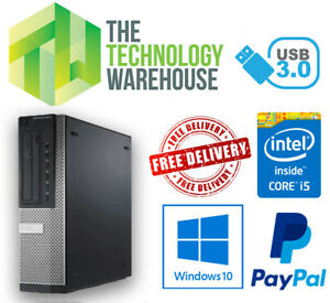 Dell 7010 DT PC - Intel i5 Quad Core CPU up to 16GB Ram Fast SSD Windows 10 Pro