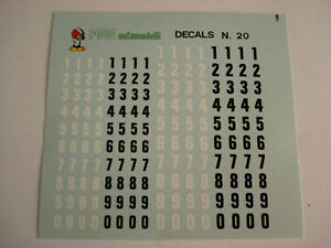 1/43 DECALS DECAL CAR NUMBERS NUMERI mm 4-5 NERI BIANCHI F1 LE MANS RALLY INDY