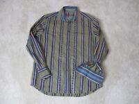 Robert Graham Flip Cuff Button Up Shirt Size Adult Medium Brown Blue Casual Mens