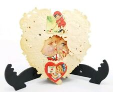 Vintage Valentines Day Card Die Cut Lace Pop Out Heart Shape Boy Girl Golfing