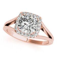 0.75 ct 0.60 ct GIA I VS Cushion cut Diamond Halo Engagement 14K Rose Gold Ring