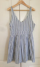 Abercrombie & Fitch Women Dress  M Blue White Stripe V-neck Cutout Bow Lined New
