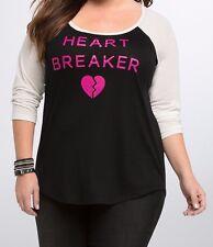 Torrid Heart Breaker Raglan Tee Size 0 Aka Large aka 12 #56441