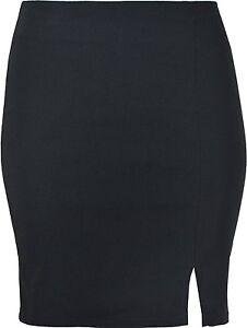 Ladies Womens Mini Skirt With Side Slit, Stretch Fabric 16 Inch Length KK19