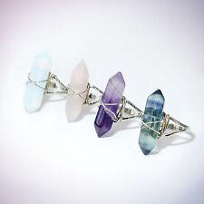 Fluorite Amethyst Opal Crystal Ring -Blue Aura Rose Quartz-Silver Boho Jewellery