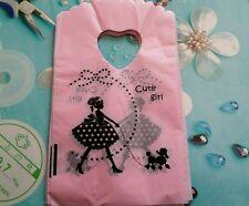 lot 50 pochettes sacs sachet plastique fantaisie 15x9 rose girl cadeaux ,bijoux
