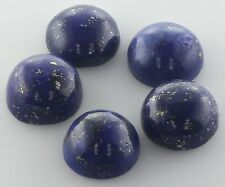 5 PIECES OF 6mm ROUND CABOCHON-CUT NATURAL AFGHAN LAPIS LAZULI GEMSTONES