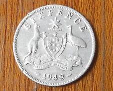1948  Australian Silver SIXPENCE ( ZACK ) KING GEORGE VI  ( Very Nice )