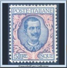 1901 Italia Regno Lire 5 Floreale n. 78 Centratissimo Nuovo Integro **