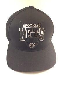 NBA Brooklyn Nets Mitchell & Ness Snapback Adjustable Hat - Black and Grey
