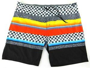 "NWT ROUNDTREE & YORKE Men's BIG MAN Size 4XB Black Orange Swim Board Shorts 11"""