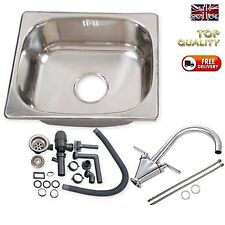Campervan Stainless Steel Sink Twin Lever Tap Complete Kit - SELF BUILD CAMPER