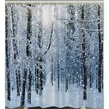 Snow Flake Holiday Forest Tree Bath Shower Curtain White Winter Christmas Fabric