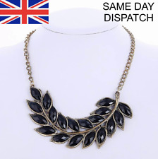 Fashion Necklace Gold Black Jewellery Leaf Choker Chunky Statement Collar UK