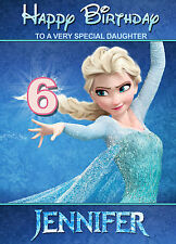 Frozen Princess Elsa Disney Birthday Card ANY NAME AGE RELATIVE! Personalised