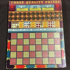Vintage Seals Punch Board, Jackpot, Lottery