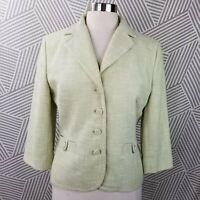 Ann Taylor Loft size 10 Tweed Jacket Coat Button Blazer Career Moto Green