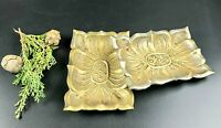 """Vintage Cute Small Brass Trays with Pedestal - Set of 2 - 5.5""""L * 3 3/4""""W"""