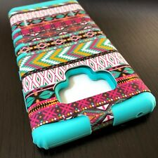 Samsung Galaxy Note 9 - Hybrid Hard Armor Case Cover Mint Blue Pink Tribal Aztec