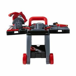 Kids Children Deluxe Tool Trolley Play set DIY Workbench Saw Drill Hammer nut R1