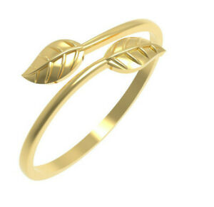 Solid 14k Yellow Gold Leaf Style Band All sizes Adjustable