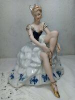 Vintage Wallendorf Germany Porcelain Ballerina Lacing Slipper Cobalt Blue Gold