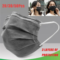 20/30/50PCS 3-PLY Disposable Face Mask Activated Carbon Protective Mouth Cover