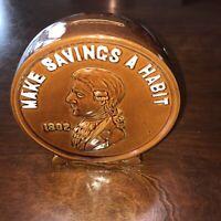 Rare Vintage Thomas Jefferson 1802 Coin Savings Bank Ceramic Penny