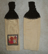 Crocheted top kitchen towels-  Fall leaves themed towels with brown tops