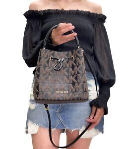 Michael Kors Suri Brown Black Signature Medium Bucket Messenger Graphic Logo Bag
