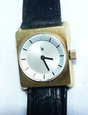 Montre de femme années 50 - 70 en plaqué or, bracelet cuir LIP