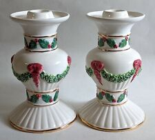 Set of 2 Ceramic Christmas Candle Taper Holders Elegant Gold Detail Red Green
