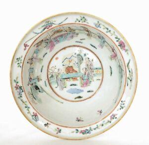 19th Century Chinese Famille Rose Porcelain Basin Bowl Figure Figurine