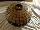 Antique Duffner & Kimberly Leaded Stained Slag Glass Shade Hanging Light Fixture