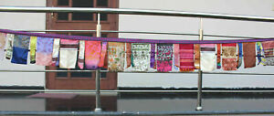 Vintage Indian Silk Sari Fabric Bunting Boho Decor 7 Meter Garland Outdoor Decor