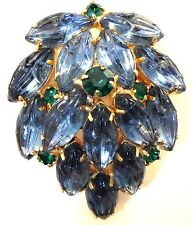 GORGEOUS Vintage Blue Molded Glass Green Rhinestone Cascade Pin Brooch