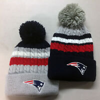 New England Patriots Pom Pom Beanie Skull Cap Hat Embroidered NE
