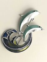 Vintage  style dolphin pin brooch enamel gold tone metal with crystals