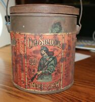 Antique Old Solider  Tobacco tin pail
