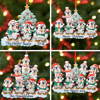 Personalised Family Christmas Tree Xmas Decoration Ornament - Penguin 2 to 9