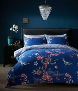 AKARI NAVY Printed Duvet Set Quilt Cover Reversible Bedding Single Double King