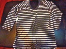 Ladies V Neck Blue Striped Top Size L