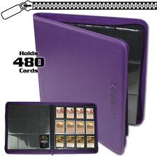 BCW Purple Zipper Z-Folio LX Binder Album 12 Pocket Pages Card Storage
