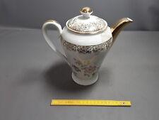 Tetera cafetera té porcelana dorado oro flores francés antigua pote del té