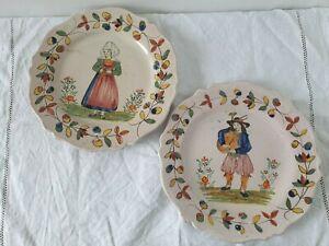 Malicorne belle paire assiettes 19 eme signées Pouplard-Béatrix